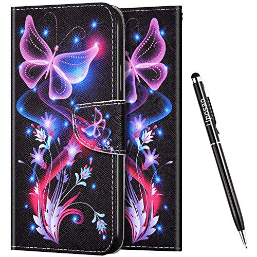 Uposao Kompatibel mit Huawei Honor 30 Hülle Leder Handyhülle Bunt Retro Muster Hülle Klapphülle Brieftasche Schutzhülle Flip Wallet Case Tasche Magnet Kartenfach,Schmetterling Lila