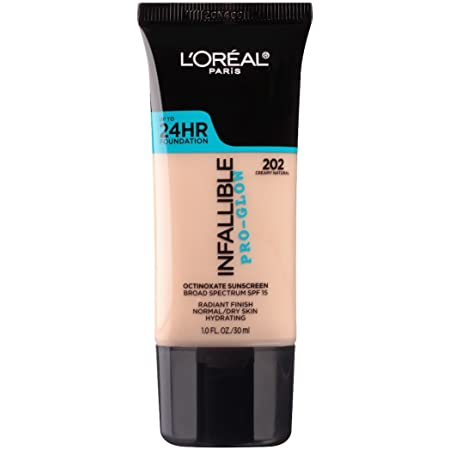 L'Oreal Paris Makeup Infallible Up to 24HR Pro-Glow Foundation, 202 Creamy Natural, 1 fl; oz.