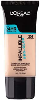 L'Oreal Paris Makeup Infallible Up to 24HR Pro-Glow Foundation, 202 Creamy Natural, 1 fl. oz.