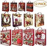 THE TWIDDLERS Lot de 12 - Assortiment de Sacs Cadeaux de Noël - avec Poignées de Ruban - Designs et Motifs de Fêtes Modernes et Traditionnels