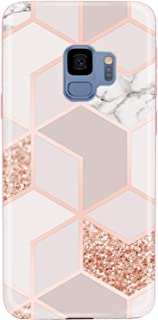 JAHOLAN Galaxy S9 Case Bling Glitter Sparkle Rose Gold Marble Design Slim Flexible Bumper Glossy TPU Soft Rubber Silicone Cover Phone Case for Samsung Galaxy S9