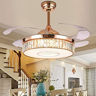 BIGBANBAN Crystal Retractable Ceiling Fan with Lights LED Dimmable Chandelier Fan with Remote Mute Ceiling Fans for Dining Room/Bedroom 42 inch (Gold)