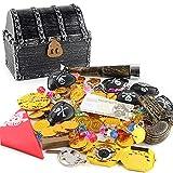 ELEpure - Juego de tesoro de piratas con cofre del tesoro piratas de plata para todos, joyas de piedras preciosas de pirata y doradas para juegos de caza del tesoro piratas de niños