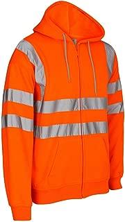 Janisramone New Mens Hi Vis Hoody Viz Visibility Zip Up Fleece Sweatshirt Work Hoodie Jacket