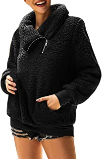 Opinionated 2019 Women's Winter Lapel Sweatshirt Faux Shearling Shaggy Warm Leopard Pullover Zipped Up with Pockets Outwear