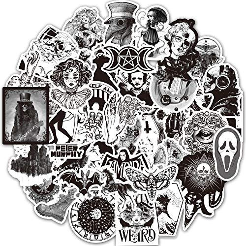 Gothic Stickers for Water Bottle, Black and White Skull Stickers, Waterproof Stickers for Laptop, Computer, Car, Skateboard, Hydro Flask, Phone, Luggage Bike Bumper, Punk Stickers 50pcs