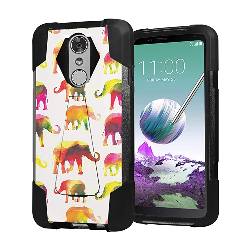 Moriko Case Compatible with LG Stylo 4 Plus, LG Stylo 4, LG Q Stylus [Hybrid Fusion Dual Layer Shockproof Combat Kickstand Case Black] for LG Stylo 4 - (Watercolor Elephant)