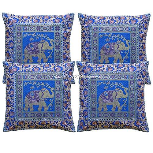 DK Homewares indisch Ethnisch Blau Kissen 40x40 cm Brokat Blumen Wohnkultur Jacquard Brokat 16 x 16 Zoll Kissenbezüge (Tinte blau) - 4 Pcs