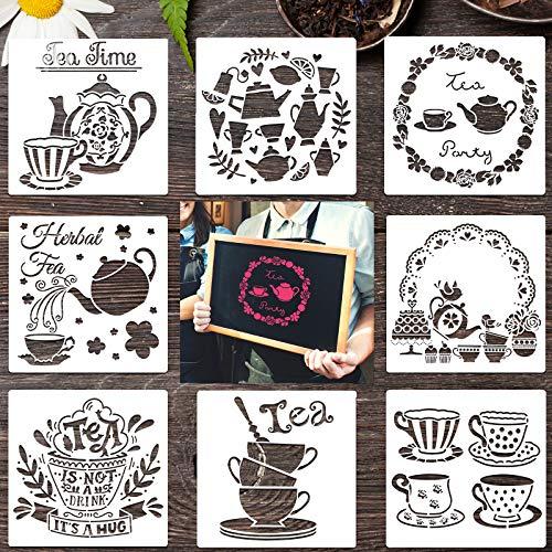 8 Stücke Tee Schablonen Teekanne Malvorlagen DIY Tee Thema Schablonen für Scrapbooking Zeichnen Nachmalen DIY Möbel Wand Fußboden Dekore, 7,9 x 7,9 Zoll, 8 Stile