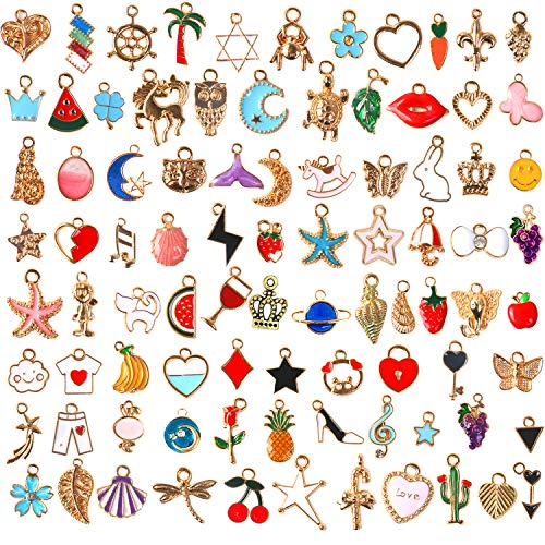 SANNIX 110pcs Assorted Gold Plated Enamel Pendants Necklace Bracelet Charms for Jewelry Making