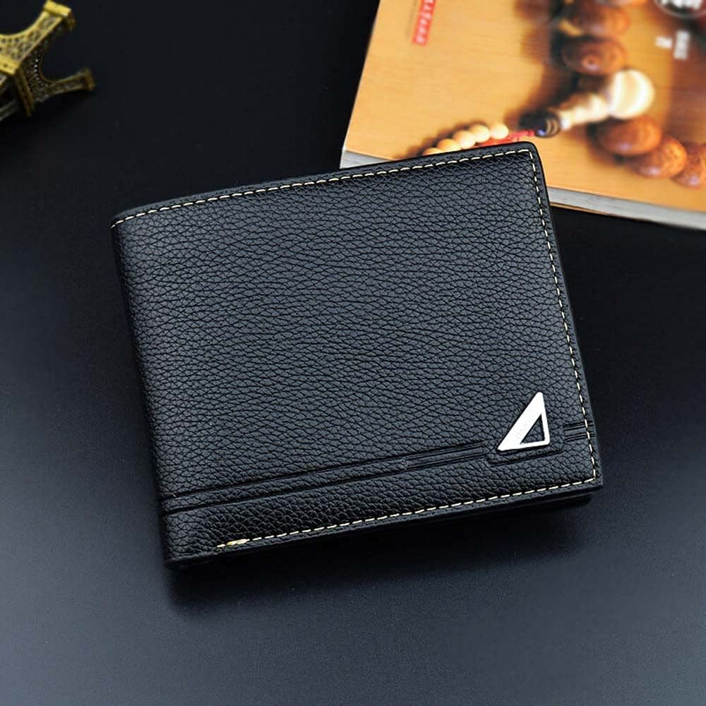 Slim Money Clip Multi Card Pockets Gift Bifold Men Coin Purse ID Card Case Short Wallet Business Card Holder(Black)