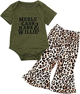 Baby Girl Summer Clothes Letters Short Sleeve Romper Tops + Leopard Bell-Bottom Pants Outfit Sets