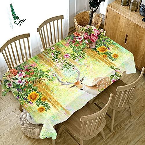 Aeici Mantel Estampado Vintaje 152X228Cm, Manteles Mesa Rectangular Poliéster para Cocina, Mantel Ciervo Sika De Jardín