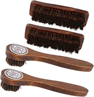 F Fityle 4PCS Wooden Handle Shoe Boots Cleaning Brush Cleaner Polish Applicator Shine