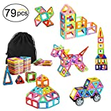 Ausear Portable 79pcs Magnetic Building Blocks Magnet Tiles Educational Stacking Blocks Toys Gifts