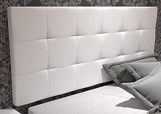 LA WEB DEL COLCHON - Cabecero tapizado Corfú para Cama de 135 (145 x 70 cms) Blanco | Cama Juvenil | Cama Matrimonio | Cabezal Cama |