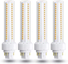 Gx24 4-Pin Base LED Bulb, Lustaled 12W G24q PL-C Horizontal Recessed Light 26W CFL Lamp Equivalent for Kitchen Light Pendant Lamp Dining Room, Warm White 3000K, 4-Pack (Remove/Bypass The Ballast)