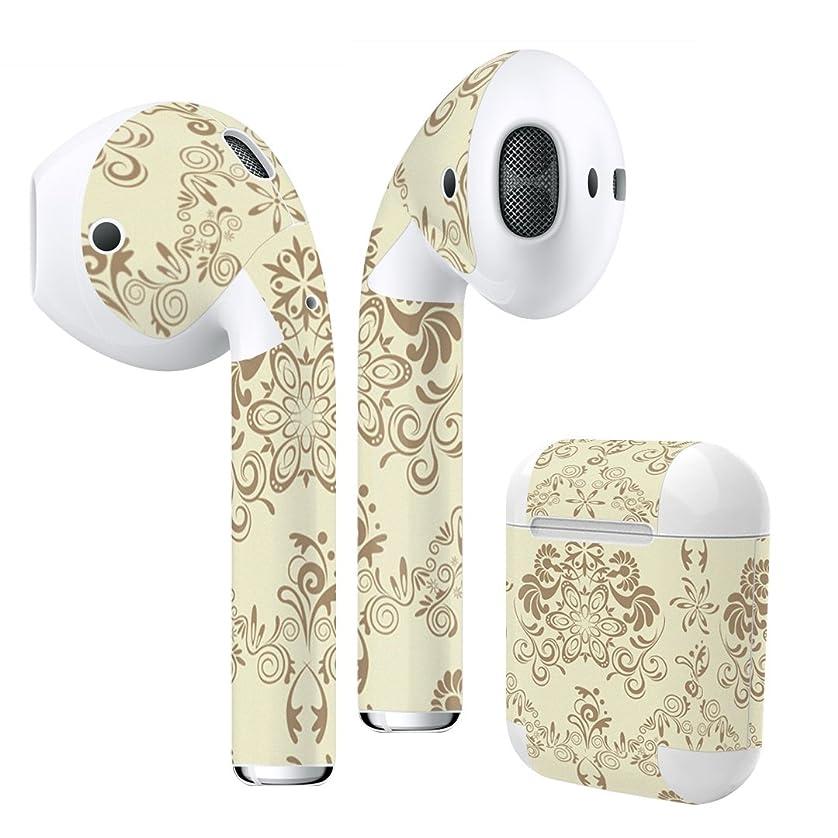 従う反動でるigsticker Air Pods 専用 デザインスキンシール airpods エアポッド apple アップル AirPods 第一世代(2016)airpods2 第二世代(2019)対応 イヤホン カバー デコレーション アクセサリー デコシール 000118 ラグジュアリー その他 壁紙 茶色 お花