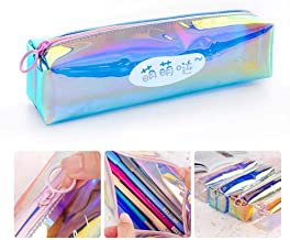 Zip Pencil Case, Womdee Laser Clear Pencil Case Colorful Transparent Pen Bag with Zipper Stationery Storage Organizer Ideal for Students, Travel Cosmetic Makeup Pouch Bag for Women, Multicolored