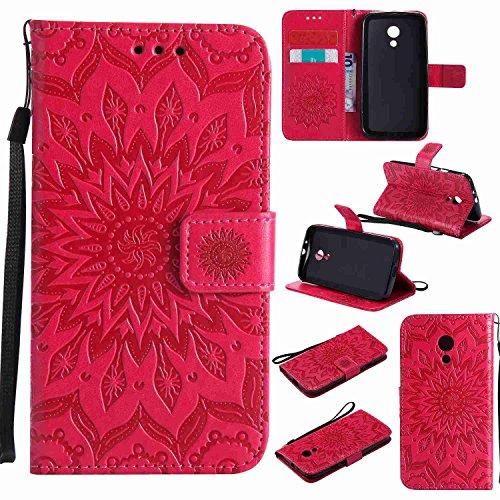 pinlu® PU Leder Tasche Etui Schutzhülle für Motorola Moto G 2. Generation (5 Zoll) Lederhülle Schale Flip Cover Tasche mit Standfunktion Sonnenblume Muster Hülle (Rot)