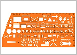 Standard Graph Template Stencil with Military Marking Symbols for NATO Army Drawing and Drafting on Tactical Map #8353