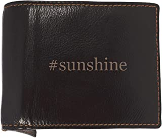 #sunshine - Soft Hashtag Cowhide Genuine Engraved Bifold Leather Wallet