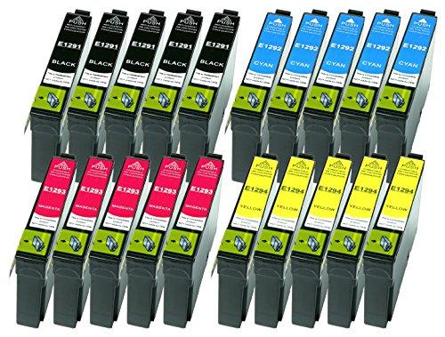 20 Druckerpatronen XL ersetzen Epson T1291 T1292 T1293 T1294 geeignet z.B. für Epson Stylus SX230, Stylus SX235, Stylus SX420, Stylus SX425, WF 3520, WF 3530, WF 3540