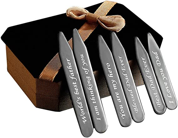 6Pcs Love Note Black Stainless steel Collar Stays in a Nice Gift Box Size 2.2