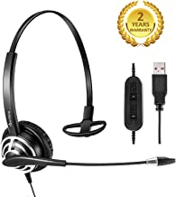 Headset with USB PC Headphone with Noise Cancelling Microphone for Skype Microsoft Lync Voice Recognition Speech Dictation