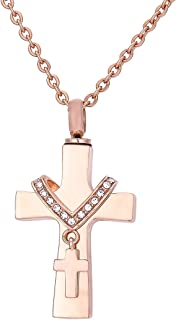 KY Cross Memorial Urn Pendant Necklace Stainless Steel Detachable Ashes Keepsake Cremation Jewelry