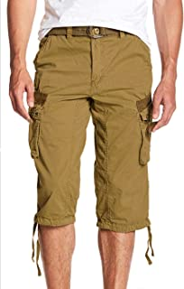 "Men's Belted Tactical Cargo Long Shorts 18"" Inseam Below Knee Length Multi Pocket 3/4 Capri Pants"