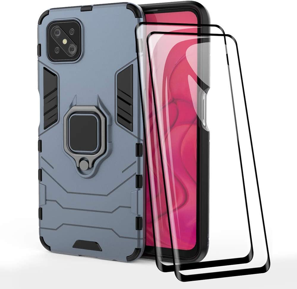 2 Pack for OPPO Reno4 Z TANYO Phone Case Screen Protector TPU//PC Heavy Duty Shockproof Armor Protective Cover Blue 360/° Bracket with Tempered Glass Screen Protector