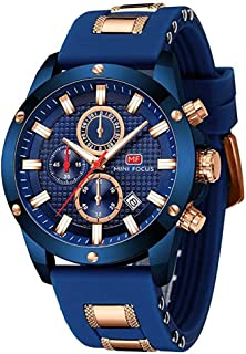 Watches Mens Sport Wterproof Multi-Function Quartz Watch Luxury Silicon Leather Strap Chronograph Wrist Watch for Men