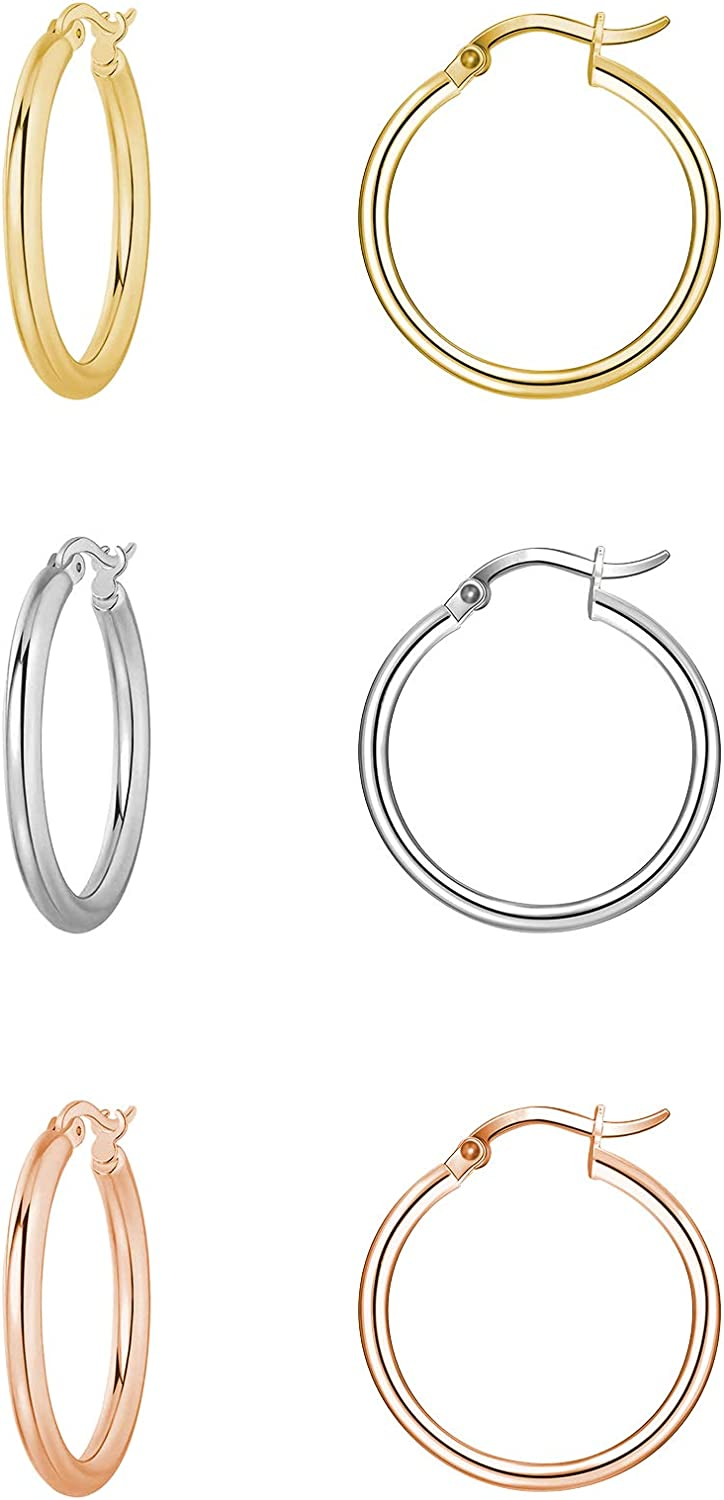 ZRO 3 Pairs Max Louisville-Jefferson County Mall 69% OFF Hoop Earrings Gold Plated Stainle Hypoallergenic 18K