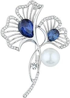 Mecool Broches de flores de albaricoque con perlas de imitación, broche con cristales creados joyería