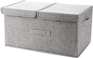 DreamyLife Boîtes de Rangement avec Couvercle et Poignée, Boîtes de Rangement Pliable en Tissu, Caisse de Rangement pour A...