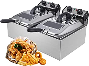WantJoin Commercial Deep Fryer with Visible Window Deep fryer 2500W 12L (6L* 2)2* 5.7QT Stainless Steel French Fry Double Deep Fast Fryer with 2 Baskets
