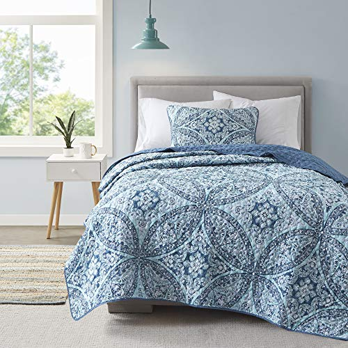 Comfort Spaces Reversible Quilt Set-Double Sided Vermicelli Stitching...