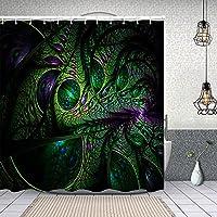 シャワーカーテン抽象的なフラクタル画像 防水 目隠し 速乾 高級 ポリエステル生地 遮像 浴室 バスカーテン お風呂カーテン 間仕切りリング付のシャワーカーテン 180 x 180cm
