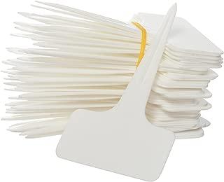 Prudance 50pcs Waterproof T Tag Plant Markers - Premium Nursery Garden Labels - Eco Friendly - White