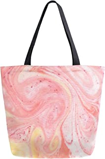 Mnsruu Mnsruu Einkaufstasche aus Segeltuch, wiederverwendbar, mit Schulter-/Handtasche, Pink und Orange, Marmor, für Damen und Mädchen