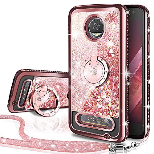 Silverback Moto Z Play Case, Moto Z Play Droid Case, Moving Liquid Holographic Sparkle Glitter Case with Ring, Bling Diamond Bumper with Ring Stand Slim Protective Case for Motorola Moto Z Play -RD