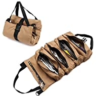Tool Roll Organizer Heavy Duty Canvas Wrench Tools Pouch with 5 Zipped Pockets Roll Up Tool Bag...
