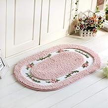 YYMMQQ Alfombra de baño,6 Sizes Square Doormat Floor Carpet for Living Room Bedroom Hallway Water Absorption Non-Slip Bathroom Mat Toilet Rug Foot Pad,Tuoyuan Pink,About 40x60cm