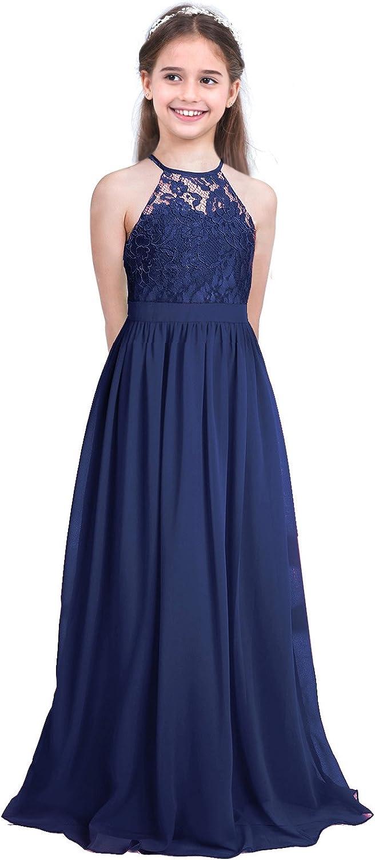 YiZYiF Kids Big Girls Halter Chiffon Lace Wedding Flower Girl Dresses Evening Prom Maxi Dance Party Gowns