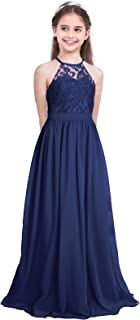 Mufeng Girls Chiffon Lace Flower Dress Formal Party Wedding Bridesmaid Evening Prom Ball Gown Maxi Long Dance Dresses