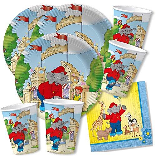 DH-Konzept 52-teiliges Party-Set - Elefant Benjamin Blümchen - Teller Becher Servietten für 16 Kinder