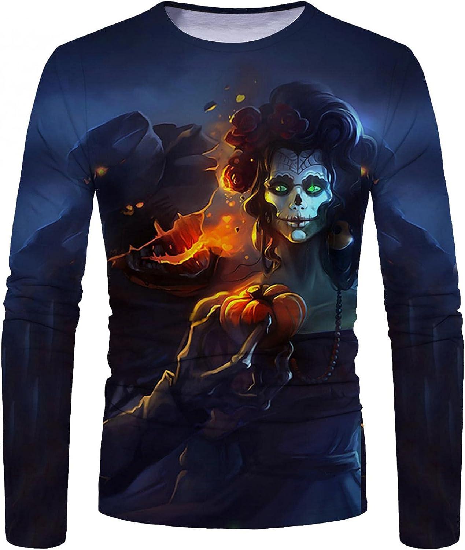 Shirts for Men Men's Halloween Ghost 3D Digital Printed T-shirt Long-sleeve Tee Mens Shirts Top Blouse Polo Mens Shirts