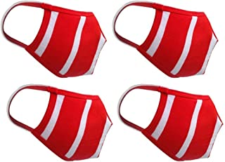 Cotton cloth Face Masks Pack of 4 Washable Reusable Face Masks  Soft Earloop/Mouth Nose Cover Men Women Kids Unisex  Cotton Breathable cloth cover Reversible face Mask (Red & White)