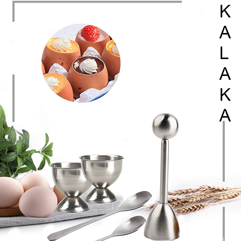KALAKA Egg Cutter Topper Set, Hard Soft Boiled Egg Cracker , Stainless Steel Egg Cutter Set, Including 2 Egg Cups, 2 Egg Spoons, 1 Egg Topper